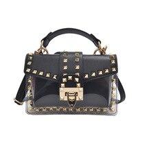2PCS Women Jelly Composite Bags  Small Tote Shoulder Clear Transparent PVC Designer Purse Solid Color Luxury Handbags