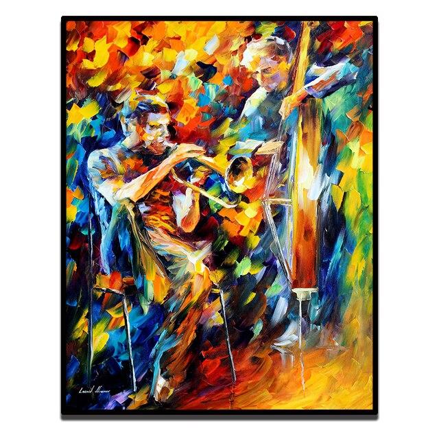 Jazz Musique Fantastique Musicien Jouer Moderne Palette Couteau