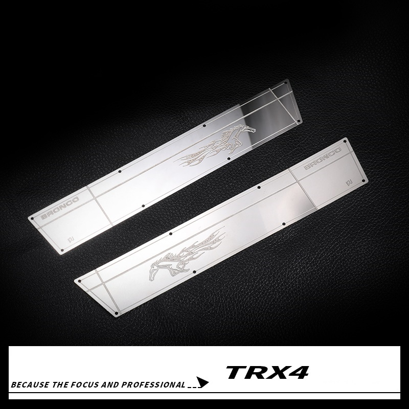 2PCS Traxxas TRX4 Ford Bronco Side Body Scratch Plate Stainless Steel Side Way Protective Panels for
