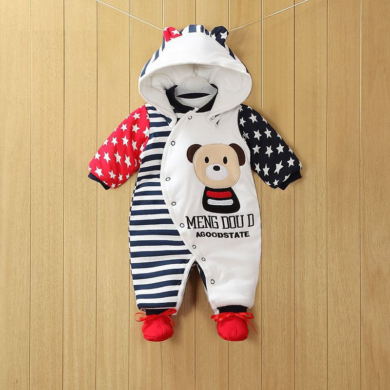 2019 NEW Baby Rompers Winter Thick Warm Baby Boy Clothing Long Sleeve Hooded Jumpsuit Kids Newborn Outwear For 0-12M