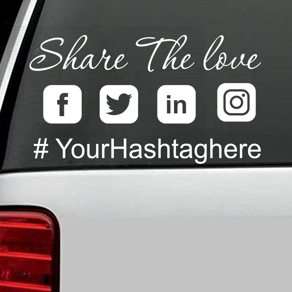 2 x Hashtag vinyl sticker Your text Custom Personalized Instagram twitter Decal