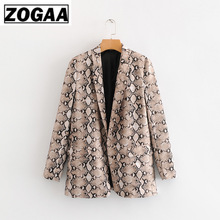 ZOGGA High Street Slim Snake Print Womens Blazers Without Button Pythons Grain Female Casual Suit Jacket Polyester Linen Fabric