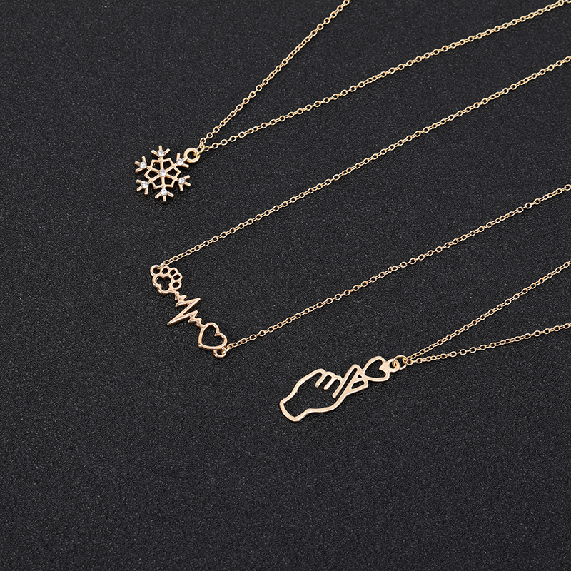 I Heart Love You Hand Gestures Sign Language Necklace Dog Cat Paw Heartbeat Wave Necklace Snowflake Chain Necklaces for Women