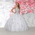 Alta Qualidade Vestido Branco com Cristal Querida Fora Do Ombro Doce 15 Organza Lace up Vestidos Quinceanera 2017 Beading