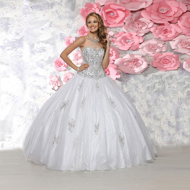 c23182b3c92 High Quality White Gown with Crystal Sweetheart Off Shoulder Sweet 15  Organza Lace up Quinceanera Dresses