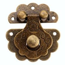 Latch-Hook Suitcase Hasps Hardware Jewelry Decorative Wooden-Box Brass Antique Retro
