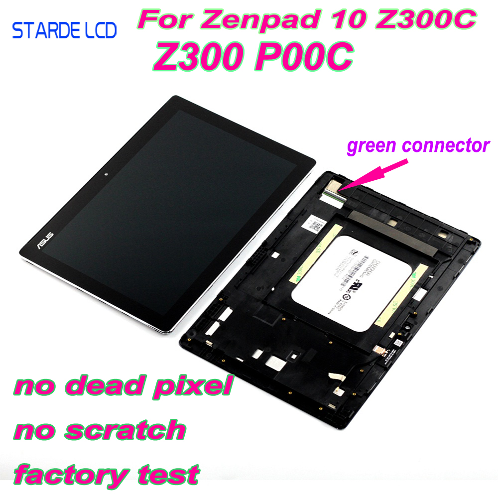 AAA STARDE LCD for Asus ZenPad 10 Z300 Z300C Z300CL P00C P023 Green Connectors LCD Display Touch Screen Digitizer Assembly Frame