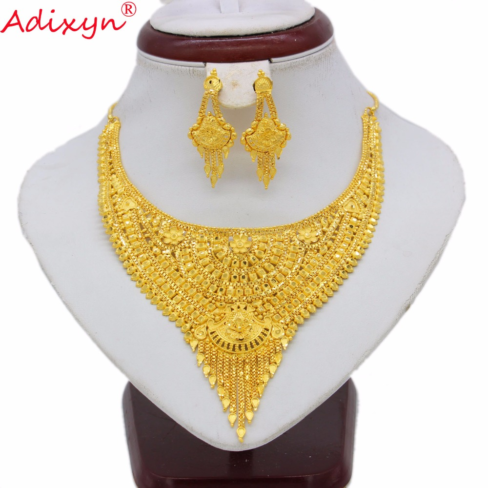 Adixyn African Dubai Necklace/Earring Sets Women Gold Color Exquisite Jewelry Arab/Ethiopian/Middle East Party N062220 adixyn dubai gold bangles fashion jewelry for women men gold color bangles bracelets african india middle east items free box