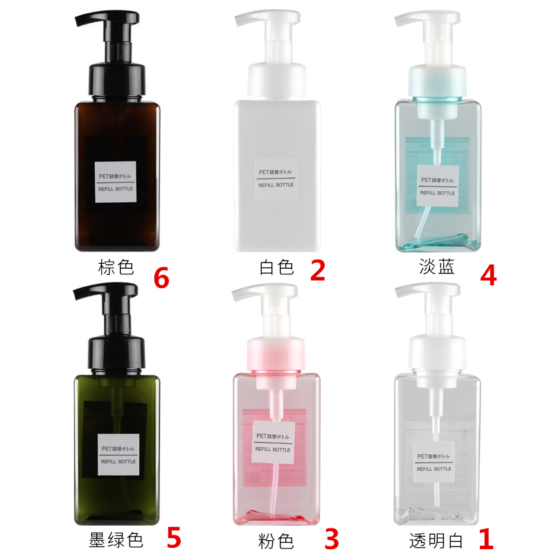Image 4 - 1pcs 450ml square foam blister bottle press bottle PETG bottle facial cleanser bottling hand sanitizer bottle BQ017-in Storage Bottles & Jars from Home & Garden