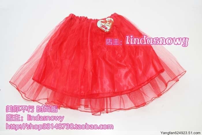 Props dance clothes flower girl props child princess puff skirt dress gauze skirt red