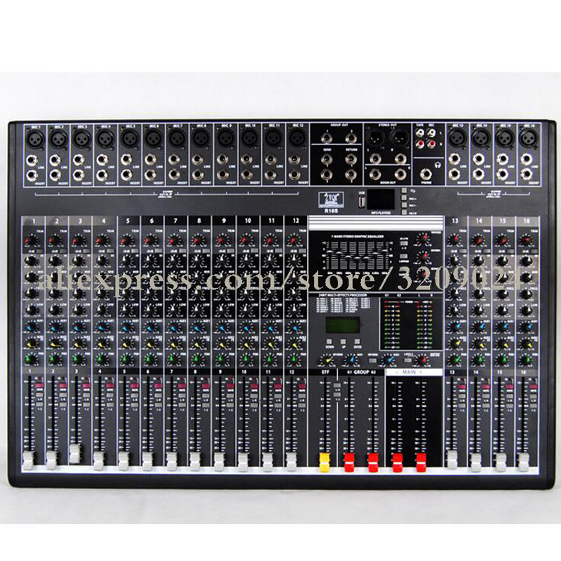Professional Mixer 16 Channel Bluetooth USB Stage Karaoke Conference Wedding Effects Processor Microphone Mixer