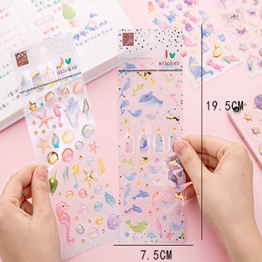 Купить с кэшбэком 1pack/lot Cartoon Kawaii Sticker 3D Beautiful Girl Dream Castle Unicorn Crystal Glue DIY Diary Phone Album Decorative Stickers