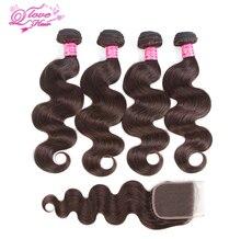 Queen Love Hair Pre-Colored Mongolian 4 Bundles With Closure 100% Human Hair Body Wave Hair Weave Bundles 8-26Inch #2 Color Hair