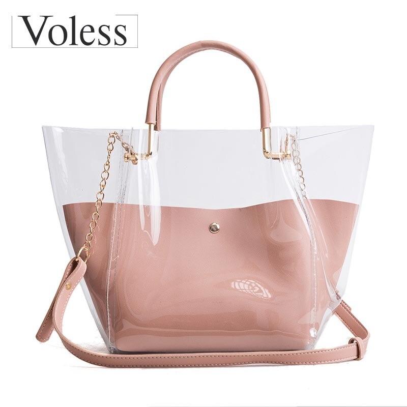 2018 New Arrival Women Crossbody Bags Fashion Transparent Tote Bag High Quality PVC Female Handbags Large Capacity Ladies Bags