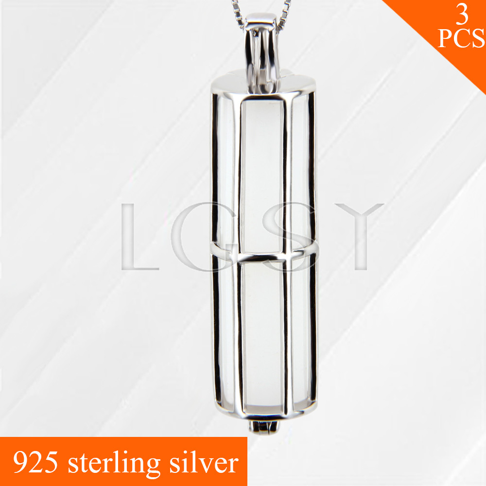 LGSY Top quality Cylindrical Tennis 925 sterling silver locket necklace pendants Fruit charms 3pcs, free shipping