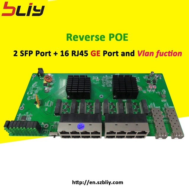 4pcs/lot free shipping 2G16GER full gigabit reverse poe switch ethernet  mikrotik vlan function network for IP camera