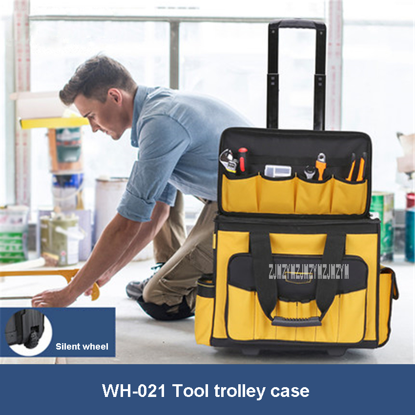 WH-021 Trolley Wheel Toolbox  Multifunction Roller Type Tool Trolley Case Large Capacity Thickening Wear-resistant Trolley Bag