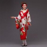 new Japan Kimono Women Geisha Kimono Prom Dress Vintage Original Tradition Silk Yukata Dress with Obi Sexy costumes 8colors AL