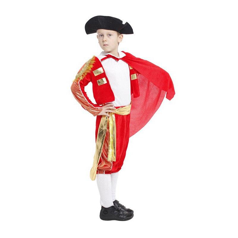 M-XL Fantasia Spanish bullfighting festival Costume kids Red Matador cosplay Disfraces Children Halloween costume cosplay