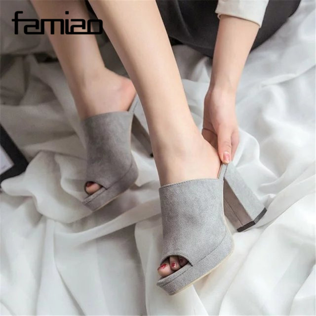FAMIAO Brand Shoes Woman Summer Gladiator Women Sandals Sexy Peep Toe Ankle Strap High Heel Sandals Gift Socks Sandalias