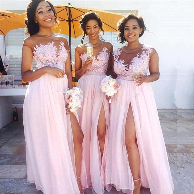 0a07199e7762b Robe demoiselle d honneur Sexy Slit Pink Lace Bridemaid Dresses Long 2019  See Through Appliqued Prom Dresses Wedding Party Gowns