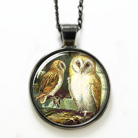 10pcs/lot Owl necklace the owl want to sleep Art necklace glass Photo Bird necklace