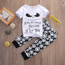 0-18 months Casual 2 Pieces Baby Sets Kids Boys Girls White Short Sleeve T-shirts Print Pants Outfit suits