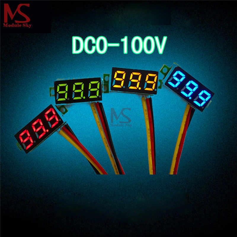 """0,28 дюймов 0,28 """"3 провода портативный вольтметр Синий Красный Зеленый Желтый DC 0-100 V свет цифровая светодиодная панель напряжение СВЕТОДИОДНЫЙ Индикатор прибора"""