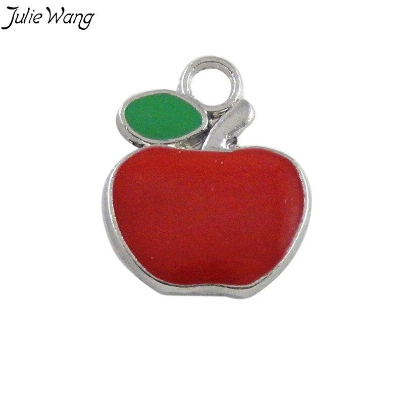 Julie Wang 20PCS Wholesale Red Apple Shape Enamel Zinc Alloy Pendant Charms Handmade Neckacle Dangle Jewelry Accessories 17*17mm