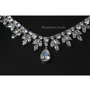 Image 3 - ThreeGraces Top Quality American Bridal Accessories CZ Stone Wedding Costume Necklace and Earrings Jewelry Sets For Brides JS003
