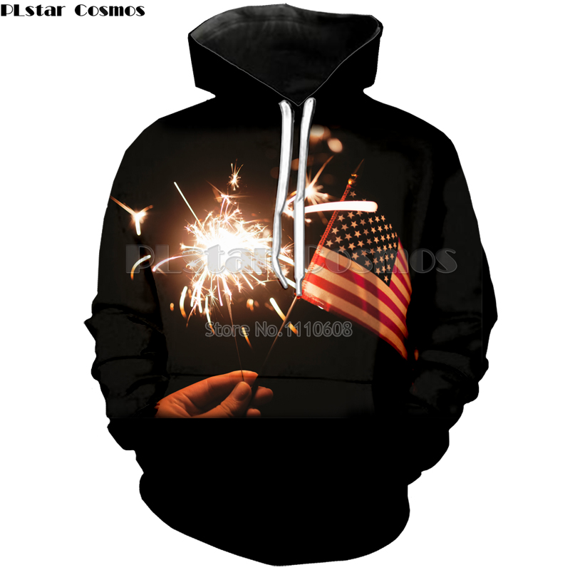PLstar Cosmos New Spark Stars and Stripes 3d print Hoodies Men/Women loose thin Sweatshirts Fashion Pullovers free shipping Hot