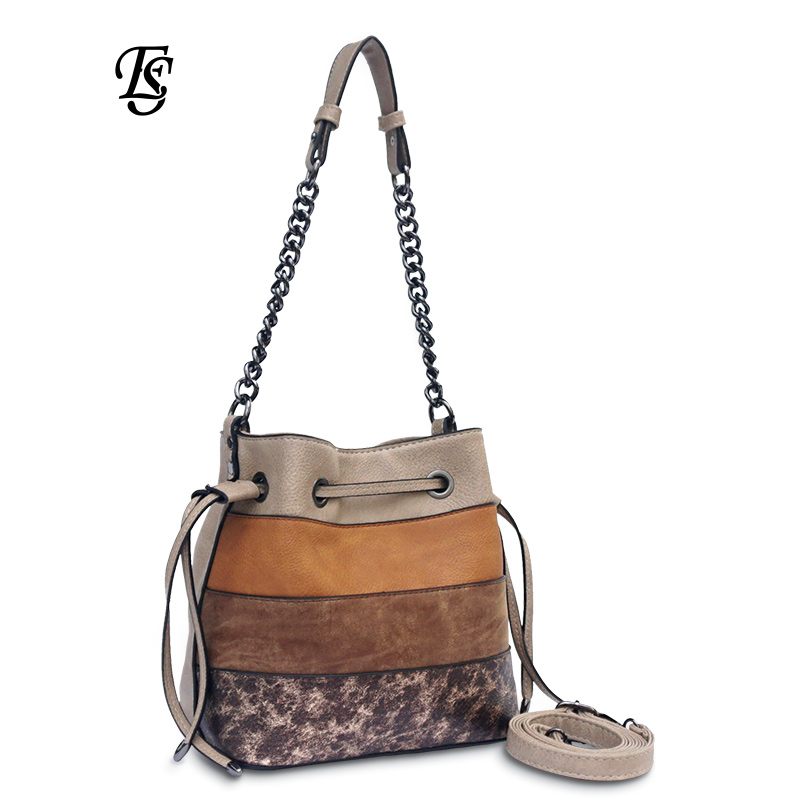 E. SHUNFA merk Originele 2018 Fashion hot koop keten tas splicing emmer vrouwelijke schoudertas PU leer vrouwen handtas-in Schoudertassen van Bagage & Tassen op  Groep 1