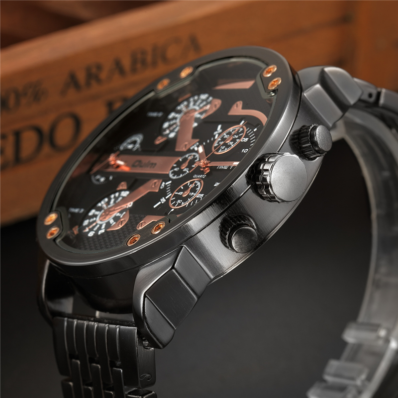 Oulm Male Military Watches Golden Hour Oversized Big Quartz Watch Top Brand Men Full Stainless Steel Wristwatch montre homme 5