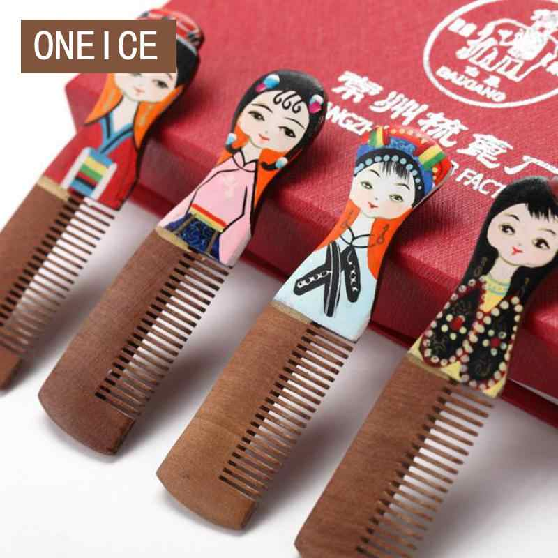 Changzhou Chinese Wooden Comb Grate Wood Combs Small Gift Cute Four Little Girls Hand Painted Wedding Birthday Small Gift