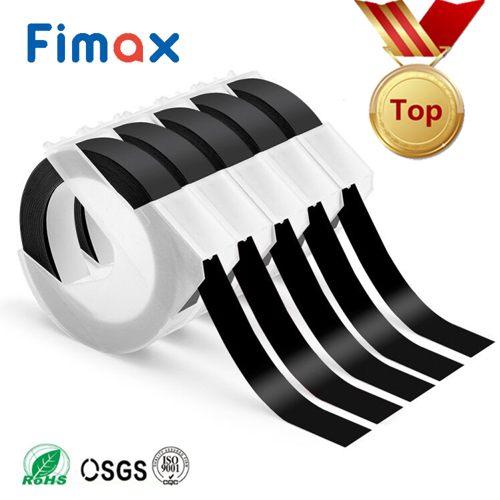 Fimax 5pcs DYMO 3D 6mm 12mm 9mm White on Black Self-Adhesive Vinyl Embossing Tape for Organizer Xpress Pro Embossing Label Maker