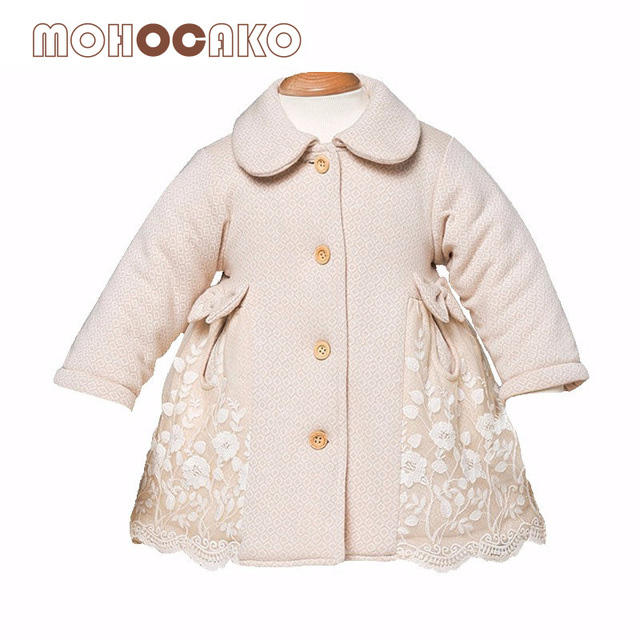 be7c11ecfd876 US $42.99 |MOHOCAKO Naturally Colored Cotton Autumn & Winter Girls Coat  Fashion Baby Clothes Lace Flower Thickening Warm Baby Girl Jacket-in  Jackets & ...