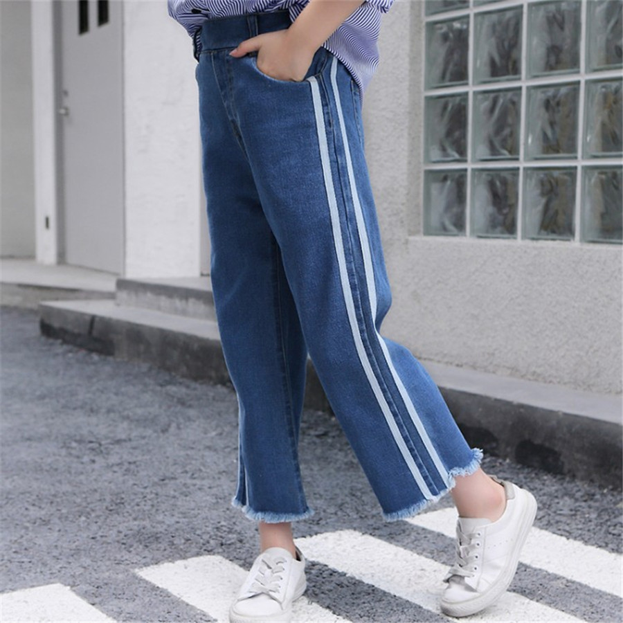 Girls 4-12 Years Spring Autumn Jeans Denim Loose Pants Casual Fashion Raw Edges Side Double Stripes Elastic Waist Jeans Trousers 4