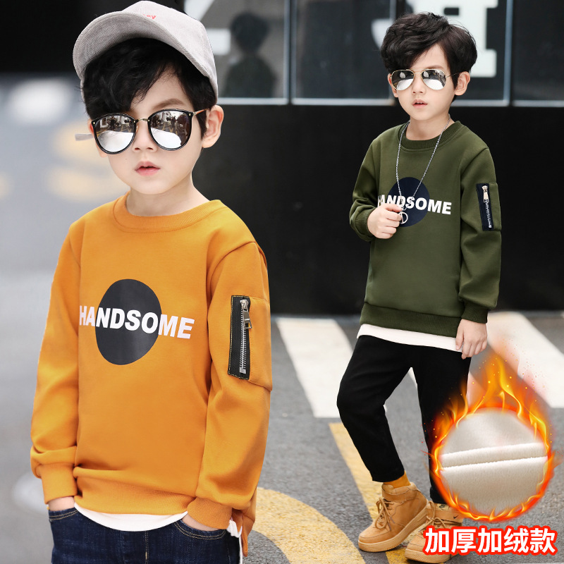 2018 New Winter Warm Plush Boys Hoodies Letter Boys Sweatshirts Girls Hoodies Long Sleeve Hoodies Kids Cotton Coats
