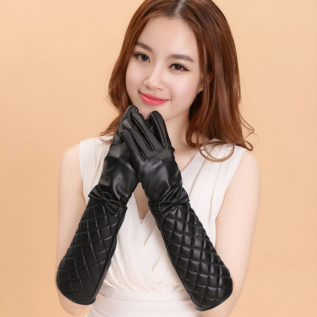 15518494b22c0 50pcs lot Women Long Leather Gloves New Winter Fashion Black Bow Leather  Gloves Warm Cute Long Section Women s Gloves