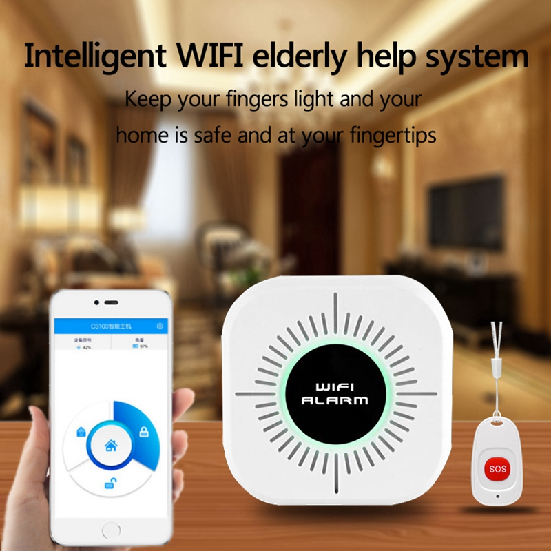 Wireless Caregiver Alert System Patient Sos Call Button Elderly Help Pager Emergency Alarm Home Security Smart Phone App Contr