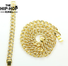 Solid Miami Cuban Link Chain Necklace Gold Color 30″ Iced Out Hip Hop Chain Necklace & 8″ Bracelet Bling Jewelry For Men