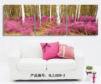 3 pieces unframed canvas wall art on canvas pictures painting purple tree for wall for living room