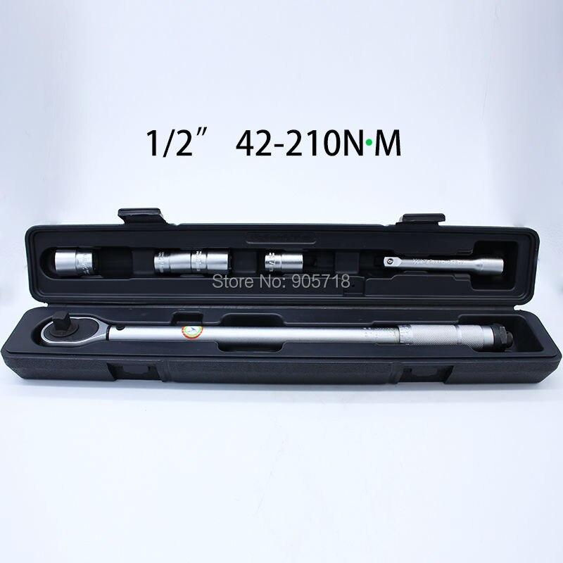 1/2DR 42-210Nm 6PCS Adjustable Torque Wrench Socket Kit Handle Spanner Set Torque Tool