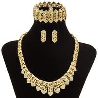 2017 Retail Dubai Fashion Creative Jewelry Set Women's Party Crystal Necklace Earrings Rings Guangzhou Brand Jewelry Set