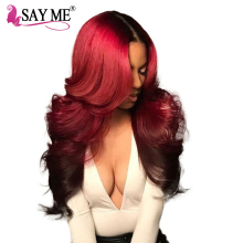 1b/Burgundy Ombre Brazilian Hair Body Wave Non Remy Human Hair Extensions Weave Bundles 1 Piece 2 Tone Red Hair Weft SAY ME Hair