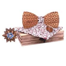African Zebra Wood Bowtie  Geometric Polyester Casual Men And Women Custom Handmade Wooden Bow Tie Set