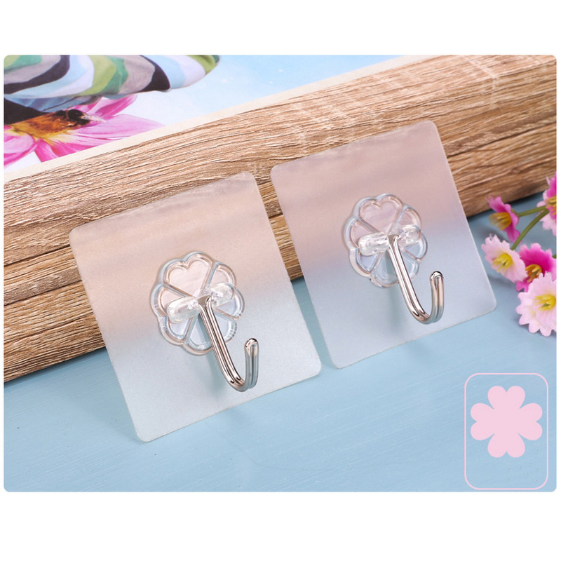 2Pcs Seamless Transparent Adhesive Hook Home Kitchen Bathroom Adhesive Hook Small Objects Hanging On Door Wall Cute Cloth Holder