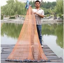 Rede de pesca estilo dos eua de 2.4m-7.2m, rede com pia e sem sinker, mão, jogar, pesca rede de malha pequena rede de fundição