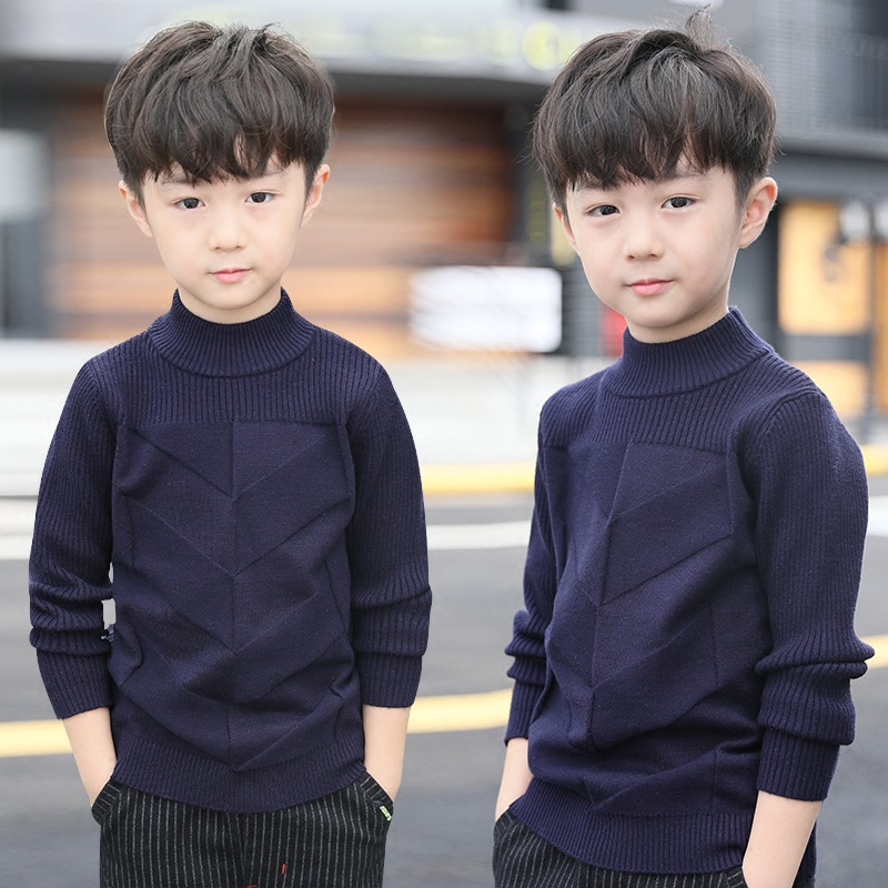 Children's clothing boy spring and autumn sweater new children's fashion boy high collar pullover knit sweater bottoming shirt body gym eva