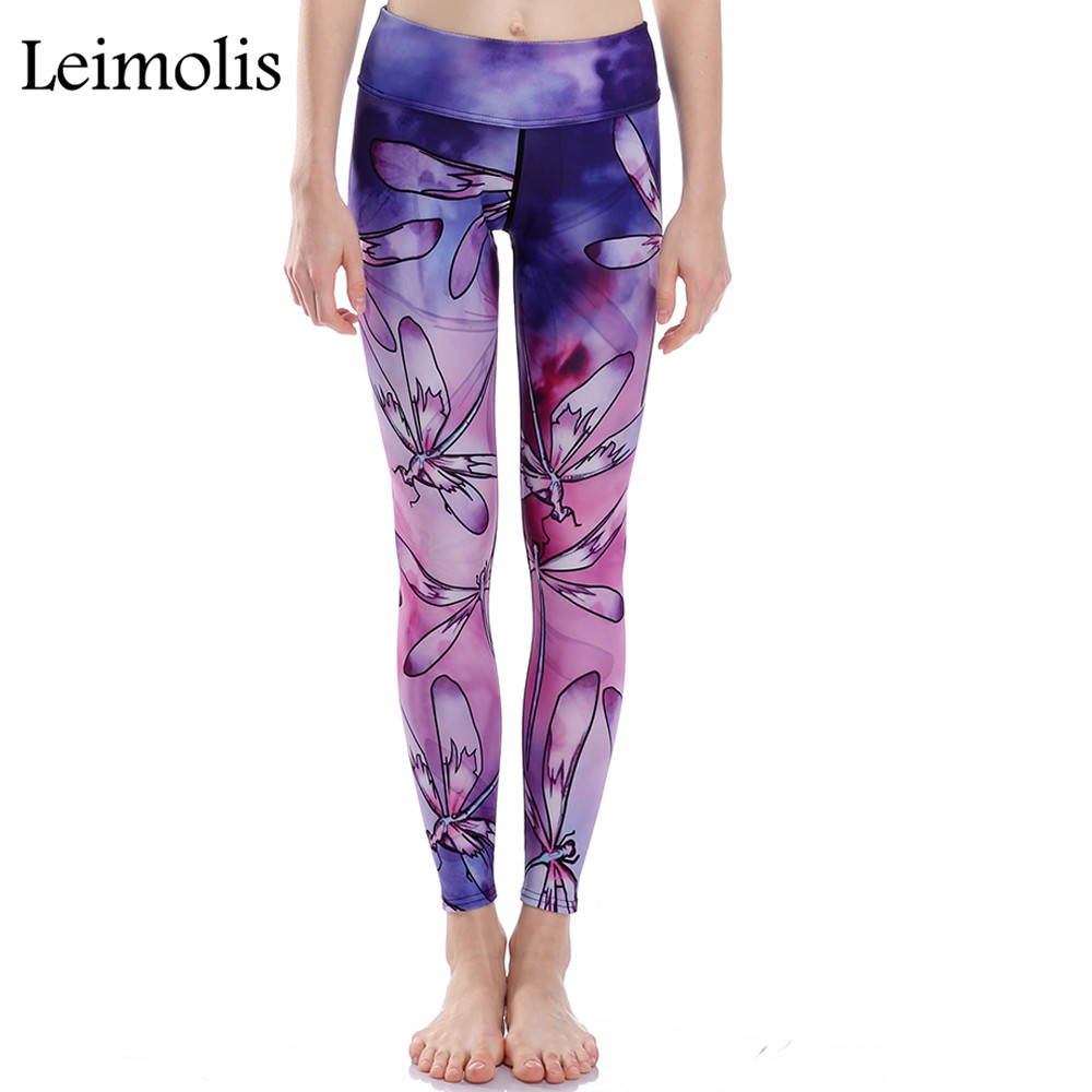 Leimolis new 3D print Purple Peacock winter warm Harajuku High Waist workout push up plus size fitness leggings women pants